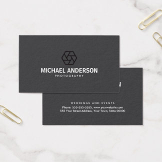 Modern, dark gray photography business card