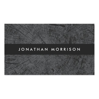 MODERN DARK GRAY TREE RINGS, WOOD MOTIF Double-Sided STANDARD BUSINESS CARDS (Pack OF 100)