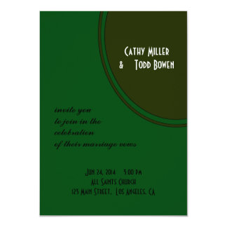 Modern Dark Green Circle Wedding Card