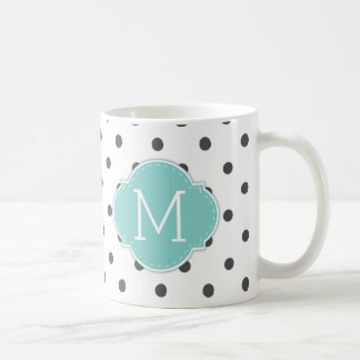Modern Dark Grey Polka-dots with monogram Coffee Mug