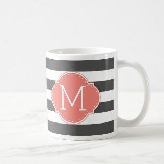 Modern Dark Grey & White Stripes with monogram Coffee Mug