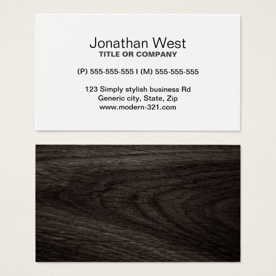 Modern dark oak wood grain professional profile business card