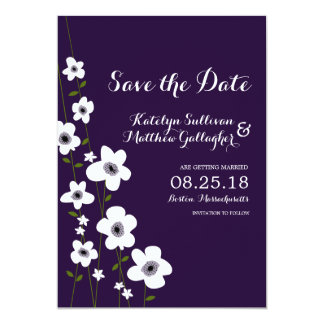 Modern Dark Purple Anemone   Save the Date Card