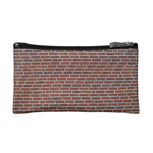 Modern Dark Red Brick Wall Background Makeup Bag