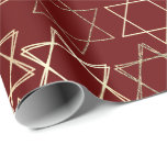 """Modern Dark Red Gold Star of David Classic Simple Wrapping Paper<br><div class=""""desc"""">Minimal classic gold Bar/Bat Mitzvah and Hanukkah modern Star of David against a solid background creates an elegant,  sophisticated design. For other coordinating colors or matching products,  visit JustFharryn @ Zazzle.com or contact the designer,  c/o Fharryn@yahoo.com  All rights reserved. #zazzlemade #christmasdecor</div>"""