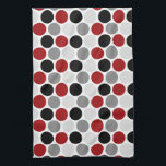 "Modern Dark Red Gray Black Circles Kitchen Towels<br><div class=""desc"">Modern Dark Red,  Gray and Black Circles Pattern on White Kitchen Towels. A modern design in bold colors</div>"