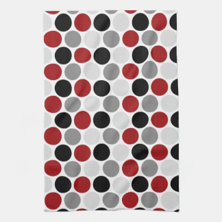 Modern Dark Red Gray Black Circles Kitchen Towels