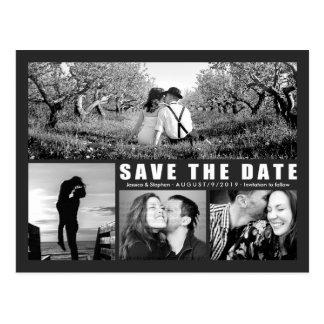 Modern Dark Save The Date 4 Photo Collage Postcard