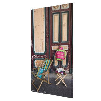 Modern day deck chairs and beach bags for sale canvas print