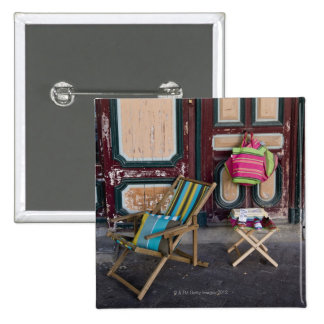 Modern day deck chairs and beach bags for sale pinback button