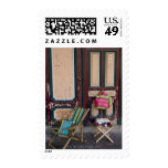 Modern day deck chairs and beach bags for sale postage stamps