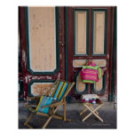 Modern day deck chairs and beach bags for sale print