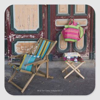 Modern day deck chairs and beach bags for sale square sticker