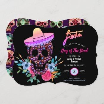 Modern Day of The Dead Fiesta Invites Pink Black