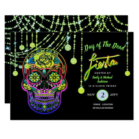 Modern Day of The Dead Fiesta Invites Sugar Skull