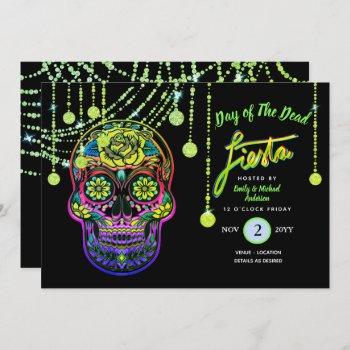 Modern Day of The Dead Fiesta Invites Sugar Skull