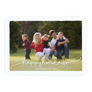 Modern Deckle Happy Holidays Photo Card