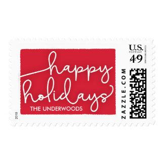 Modern Deckle Happy Holidays Postage Stamp