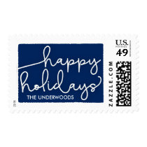 Modern Deckle Happy Holidays Postage Stamp