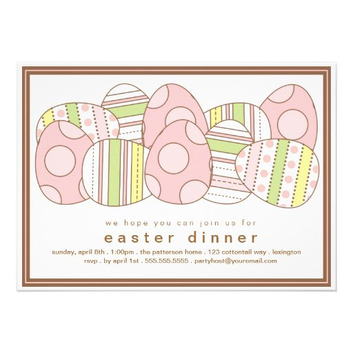 Modern Decorated Eggs Easter Dinner Invitation (front side)