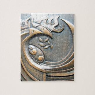 Modern decorative abstract bronze pattern jigsaw puzzle