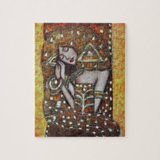 Modern decorative abstract girl portrait jigsaw puzzle