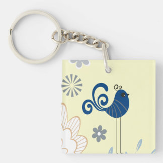 Modern Decorative Blue Birds Keychain