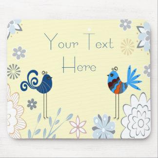 Modern Decorative Blue Birds Mouse Pad
