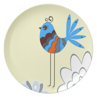 Modern Decorative Blue Birds Party Plate