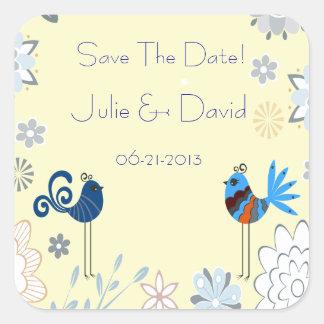 Modern Decorative Blue Birds Wedding Save The Date Square Sticker