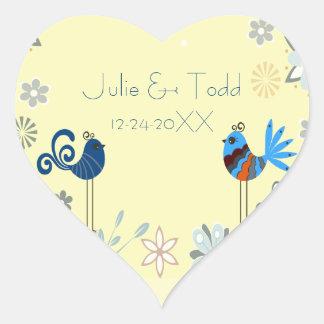 Modern Decorative Blue Birds Wedding Save The Date Stickers