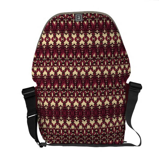 Modern Decorative Burgundy Cream Pattern Courier Bag