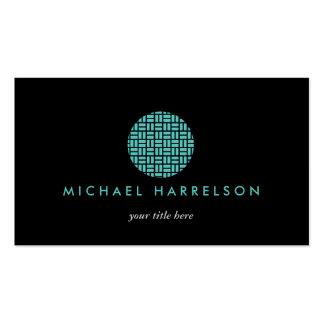 Modern Decorative Logo in Teal on Black Business Card