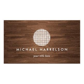 Modern Decorative Logo on Warm Woodgrain Business Card