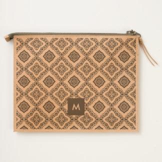 Modern Decorative Pattern with Monogram Travel Pouch