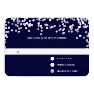 Modern Deep Navy Shooting Stars Wedding RSVP Card