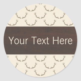 Modern Deer Antlers Pattern on Rustic Brown Wood Classic Round Sticker