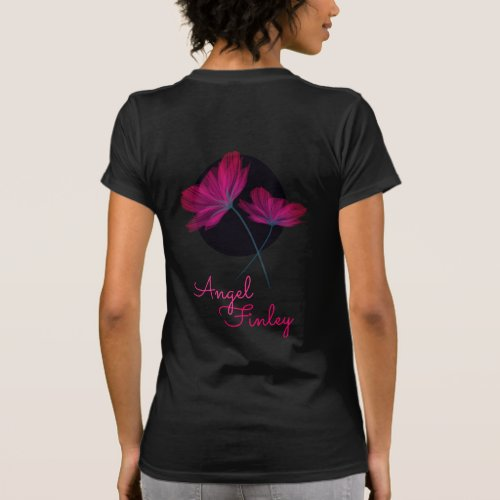 Modern delicate floral 2 pink flowers Couple Names T_Shirt