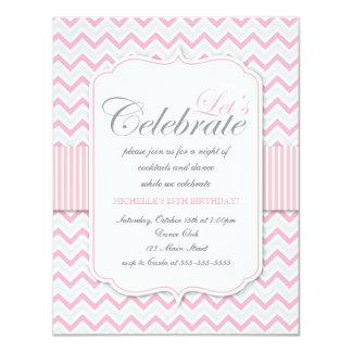 Modern Delicate Pink Chevron Birthday Party Card