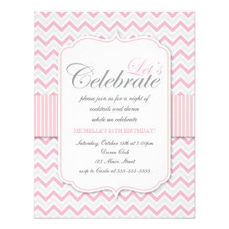 Modern Delicate Pink Chevron Birthday Party Custom Invite