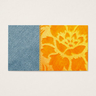Modern Denim Gold Damask Wedding Trendy Chic Business Card
