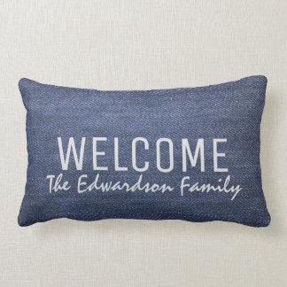 Modern denim jeans blue Welcome Family monogram Lumbar Pillow