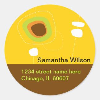 Modern Design Address Label Classic Round Sticker