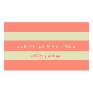 Modern Design Beige & Coral Red Stripes Business Card