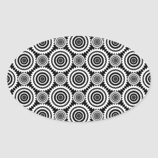 Modern Design Black and White Kaleidoscope Pattern Oval Sticker