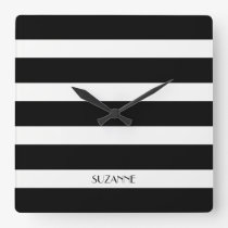 Modern Design Black And White Stripes Pattern Square Wall Clock