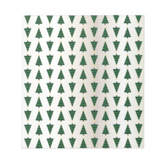 Modern Design Bright Christmas Trees in Soft Gold Notepad