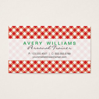 Modern Design, Green, Red & White Country Gingham Business Card