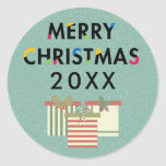 Modern Design Merry Christmas Gift Boxes Sticker at Zazzle