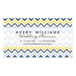 Modern Design, Navy Blue, Yellow, & Gray Chevron Double-Sided Standard Business Cards (Pack Of 100)